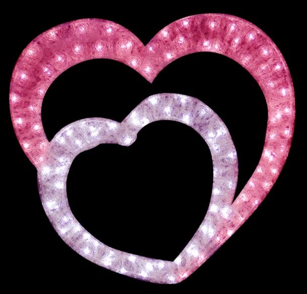 クリスタルグロー・ダブルハート 2DDOUBLEHEART ピンク×ホワイト
