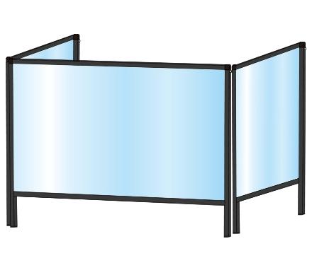 TOKISEI BHBP3F600×900・BHBP3F600×900E ブラックパーテーションスタンド 三面タイプ(下部開口125mm)