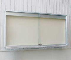 アルモード 6682Z C(シルバー) 2430×930 ガラス戸式自立掲示板・屋外 ホワイトボード仕様