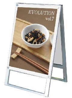 TOKISEI ポスター用スタンド看板B2 両面 PSSK-B2RW(白)&ゴールドビス