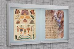 アルミ掲示板・ガラス引違い型 EKN�U-1810 壁面タイプ 照明付
