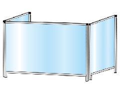 TOKISEI HBPL3F600×900・HBPL3F600×900E パーテーションスタンド 三面タイプ(ロウ)