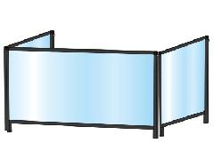 TOKISEI BHBPL3F450×900・BHBPL3F450×900E ブラックパーテーションスタンド 三面タイプ(ロウ)