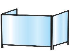 TOKISEI BHBPL3F600×900・BHBPL3F600×900E ブラックパーテーションスタンド 三面タイプ(ロウ)