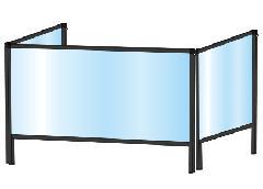 TOKISEI BHBP3F450×900・BHBP3F450×900E ブラックパーテーションスタンド 三面タイプ(下部開口125mm)