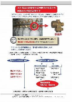 〜販売促進チラシ作成〜改正法令により設置後15年を経過する容器弁は点検が必要です。