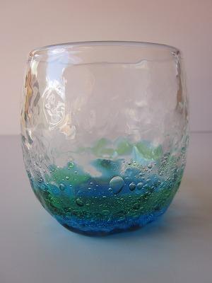 琉球グラス「潮騒でこたるグラス」水/緑