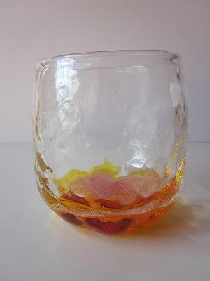 琉球グラス「潮騒でこたるグラス」オレンジ