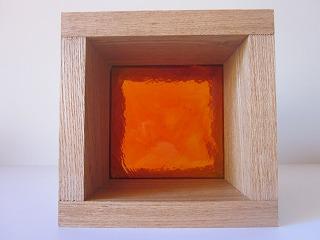 ガラスブロック オレンジ 10cm