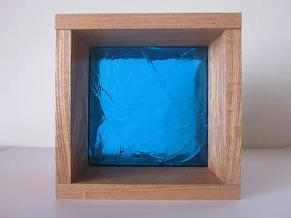 ガラスブロック ライトブルー 15cm