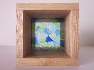 フュージング板ガラスブロック 水+青+緑 10cm