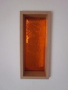 縦長板ガラスブロック オレンジ 30cm×15cm