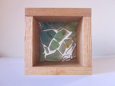 フロート板ガラスブロック 緑色+クリア 10cm