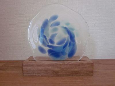 琉球飾りガラス(クリアガラスにブルー模様)