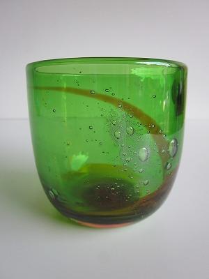 琉球グラス「泡盛ロックグラス」オレンジ/緑