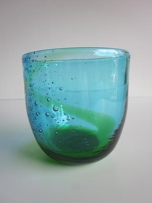 琉球グラス「泡盛ロックグラス」水/緑