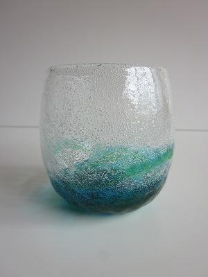 琉球グラス「泡でこたるグラス」水/緑