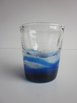 琉球グラス「潮騒ミニグラス」青/水