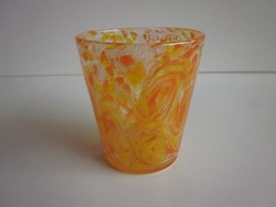 琉球グラス「うず模様グラス(マンゴー)」オレンジ/黄