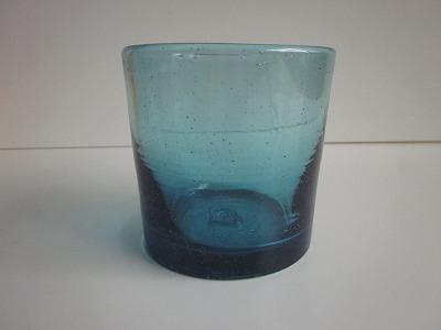 琉球グラス「チャンプルーロックグラス」クリアブルー
