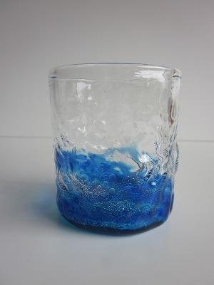 琉球グラス「潮騒でこぼこグラスグラス」青/水