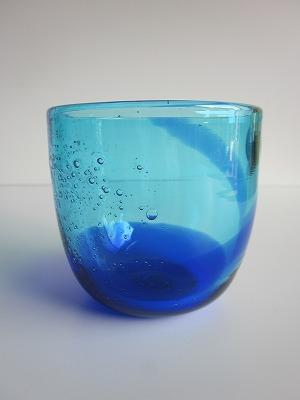 琉球グラス「泡盛ロックグラス」青/水