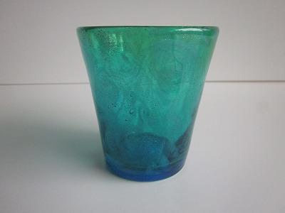 琉球グラス「うず模様グラス(イラブチャー)」緑/水