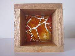フロート板ガラスブロック オレンジ 10cm