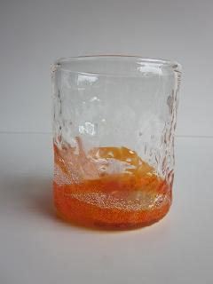琉球グラス「潮騒でこぼこグラス」オレンジ