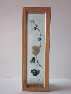 �Eガラス引手(ブラック&ゴールドハートツズラ)濃乳白ガラス