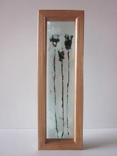 �Iガラス引手(ブラック紫ひげ芝)白ガラス