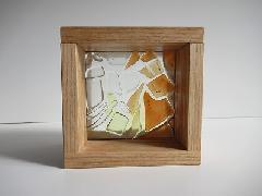 フロート板ガラスブロック オレンジ+黄色+クリア 10cm