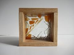 フロート板ガラスブロック オレンジ+クリア 10cm