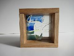 フロート板ガラスブロック 青色+緑色+クリア 10cm
