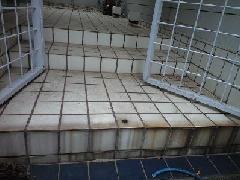 住宅の玄関タイルのガンコな汚れを薬剤洗浄