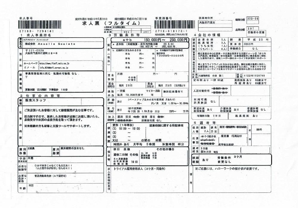 ハローワーク求人募集のフラット7オニキス大阪門真店