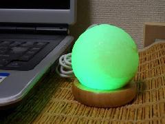 パワーストーン(ヒマラヤ岩塩)ランプ グリーン ラウンド型(送料込)