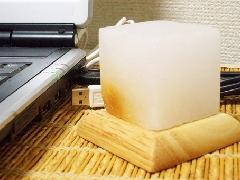 パワーストーン(ヒマラヤ岩塩)ランプ ホワイト キューブ型(送料込)