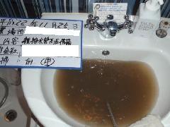 ホテル浴室の排水管洗浄