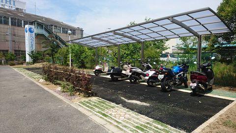 オートバイ駐車場  (サイクル屋根 芝生保護ゴムマット)臨海