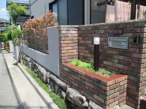 ブロック塀のジョリパット塗り替え  (石笠置 ひび割れ補修)猪名川町