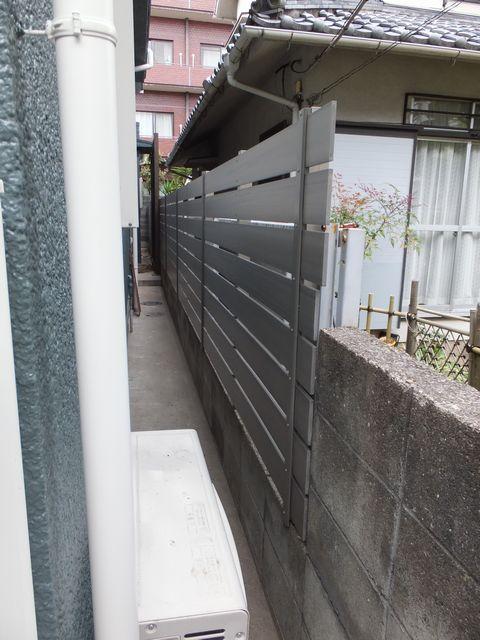 樹脂板横張塀(ネットフェンス枠利用) F&F マイティーウッド