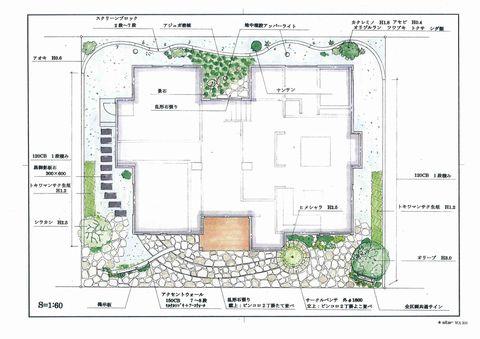 モデルハウスの外構計画  (手描きパース 手描きスケッチ)
