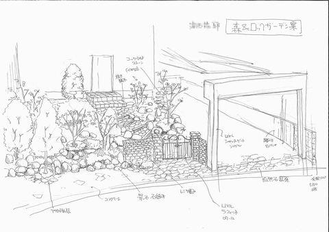 郊外型・ダイナミックな外構 ラフスケッチ提案 (手描きスケッチ 手描きパース)