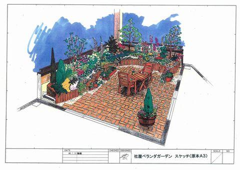 ベランダ&屋上ガーデン 提案事例  (ローメンテナンス ドライガーデン 屋上遊具)