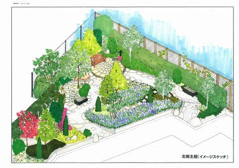老人ホームの庭  (リハビリの庭堺 園芸セラピー 癒しの庭)