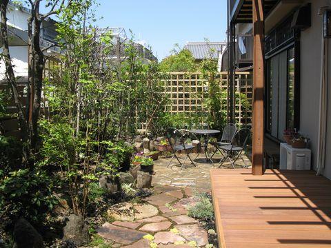 雑木の庭にウッドデッキ (ウリン材 パーゴラ 読書の庭)豊中緑丘