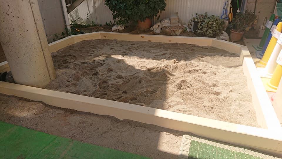 幼稚園園庭の砂場工事(住之江区)