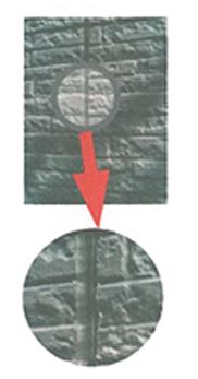 外壁繋ぎ目のシーリング材硬化によるはがれ。