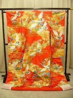 赤地金の刺繍花鶴